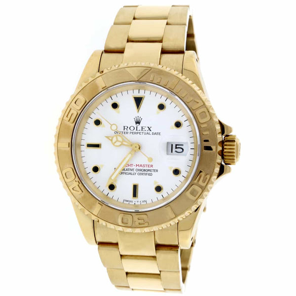 Rolex Yacht-Master Yellow Gold White Dial 40mm Watch 16628