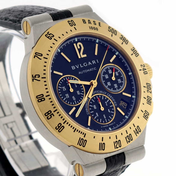 Bvlgari Diagono Chronograph 2-Tone 18K Yellow Gold & Stainless Steel Automatic Mens Watch CH 40 SG TA