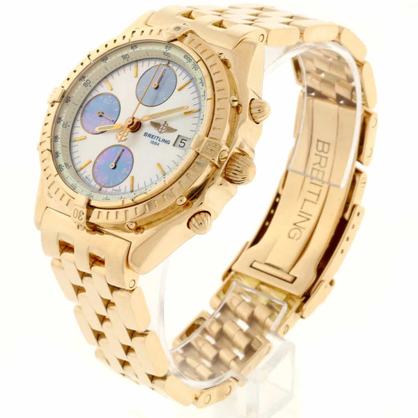 Breitling Chronomat 18K Rose Gold Original Mother of Pearl Dial Chronograph 41MM Automatic Mens Watch H13048