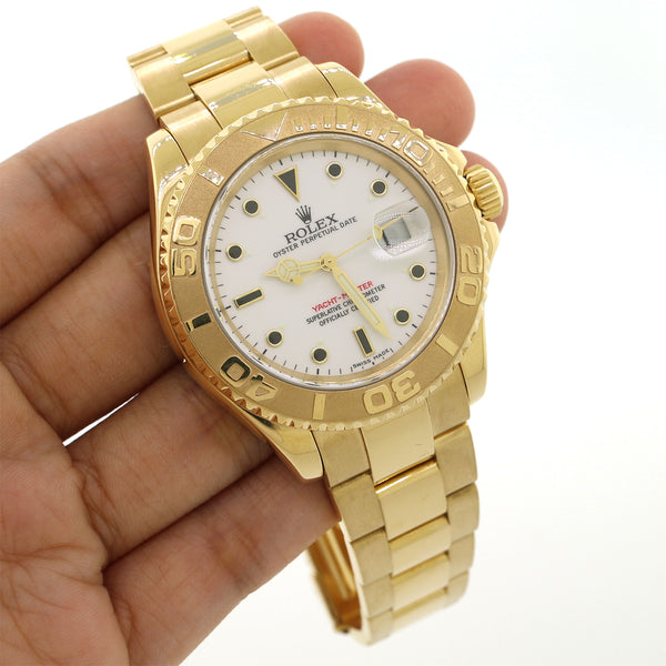 Rolex Yacht-Master Yellow Gold White Dial 40mm Watch 16628 Box&Papers