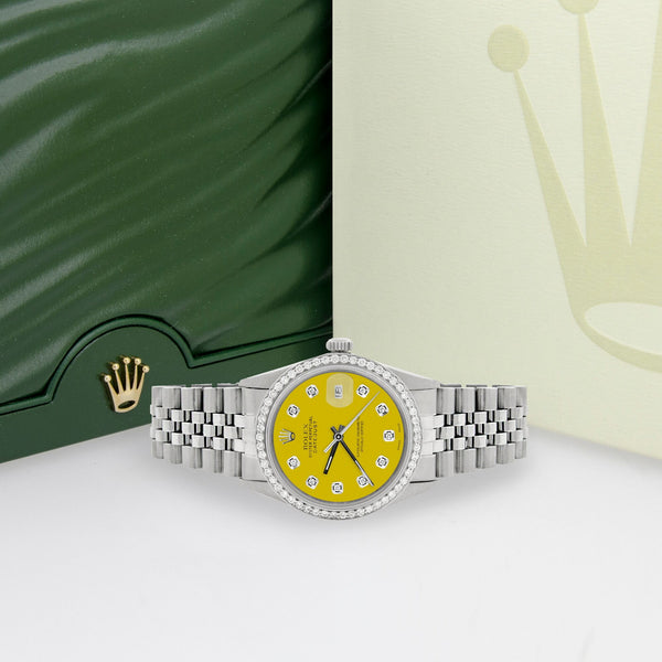 Rolex Datejust Steel 36mm Jubilee Watch 1.1CT Diamond Bezel/Yellow Diamond Dial