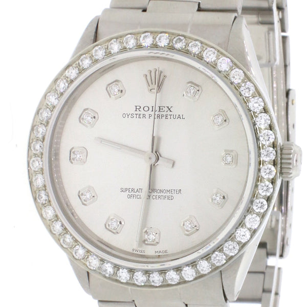 Vintage Rolex Oyster Perpetual 34mm Automatic Stainless Steel Oyster Watch w/Silver Diamond Dial & 1.80CT Bezel