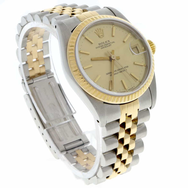 Rolex Datejust Midsize 2-Tone 18K Yellow Gold/Stainless Steel Original Champagne Stick Dial 31mm Womens Jubilee Watch 68273