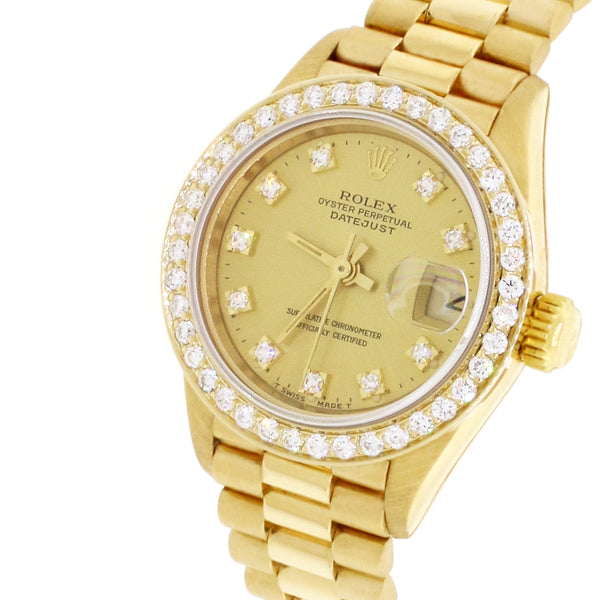 Rolex President Ladies 18K Yellow Gold 26MM Champagne Diamond Dial Watch 69178 w/Custom Diamond Bezel