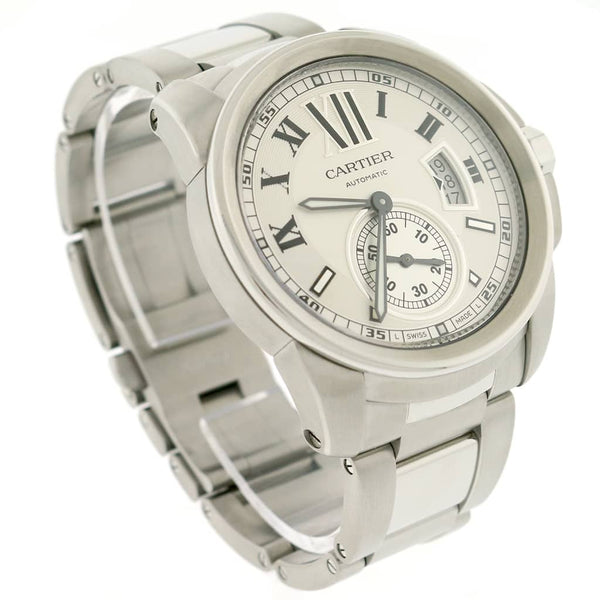 Calibre de Cartier 42MM Silver Roman Dial Automatic Stainless Steel Mens Watch W7100015