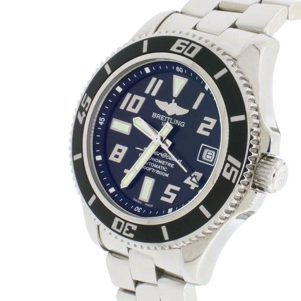Breitling SuperOcean 42 Black Dial Automatic Stainless Steel Mens Watch A17364