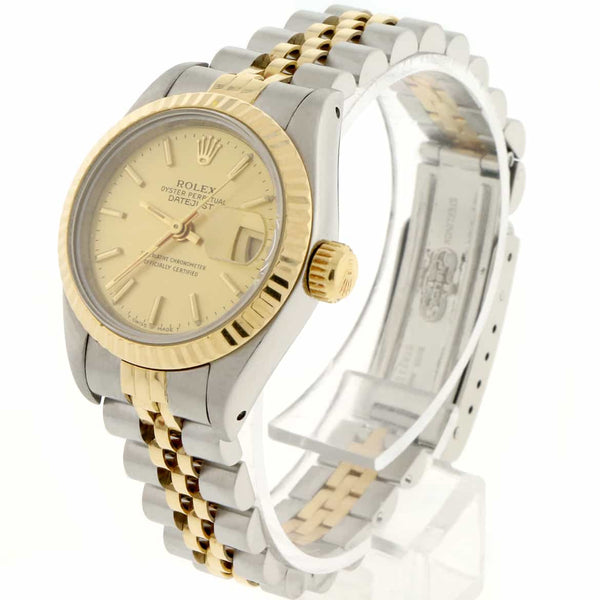 Rolex Datejust Ladies 2-Tone Yellow Gold/Steel Original Champagne Stick Dial 26MM Jubilee Watch 69173