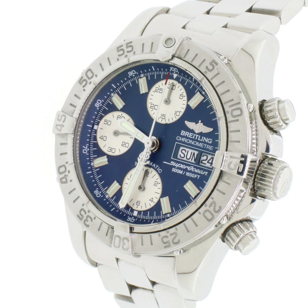 Breitling Chrono SuperOcean Day Date Blue Dial 42MM Automatic Stainless Steel Mens Watch A13340