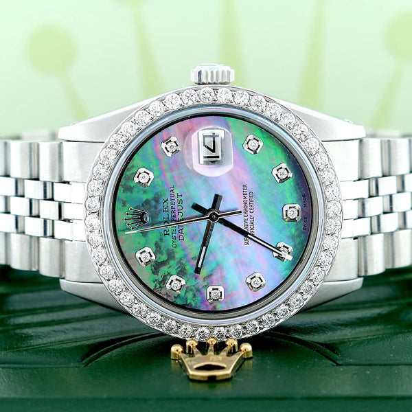 Rolex Datejust 36MM Automatic Stainless Steel Watch w/Tahitian MOP Diamond Dial & Bezel