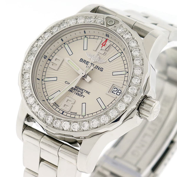 Breitling Colt 33 Cream Dial Stainless Steel Ladies Watch A77387 w/Diamond Bezel
