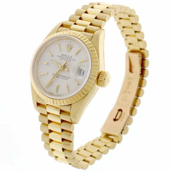 Rolex President Datejust Ladies 18K Yellow Gold Original Silver Index Dial 26MM Automatic Watch 69178