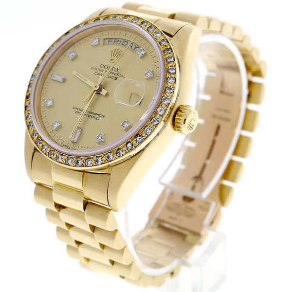 Rolex President Day-Date Original Champagne Diamond Dial 18K Yellow Gold 36MM Automatic 18038/ Diamond Bezel