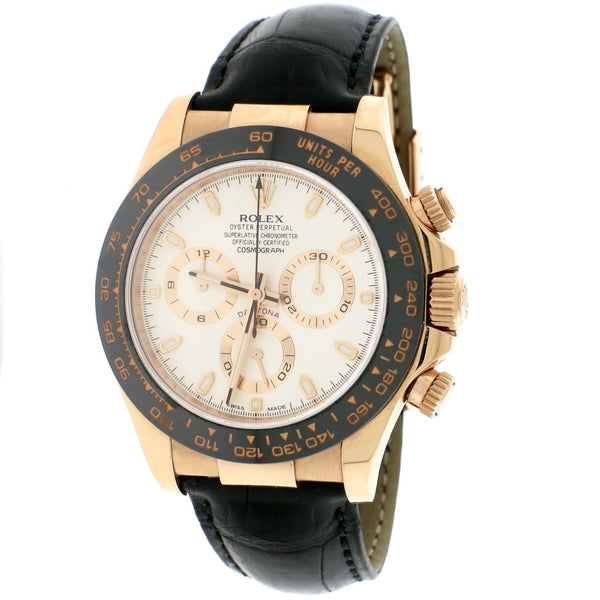 Rolex Cosmograph Daytona 18K Everose Gold Factory Ivory Dial Black Ceramic Bezel Automatic Mens Watch 116515