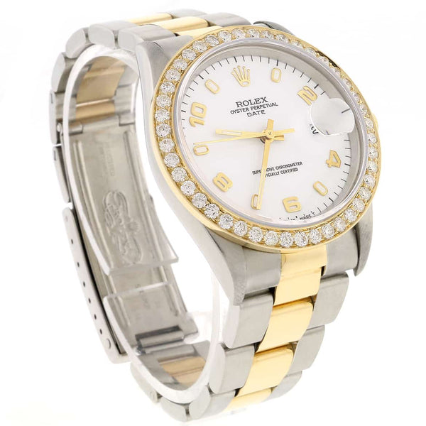 Rolex Oyster Perpetual Date 2-Tone 18K Gold/SS 34mm Automatic Original White Arabic Dial Watch with Diamond Bezel