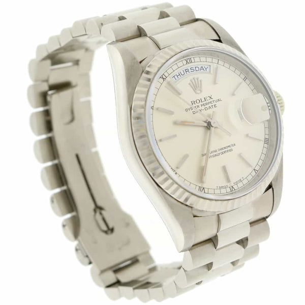 Rolex President Day-Date 18K White Gold Original Index Dial 36MM Automatic Mens Watch 18239