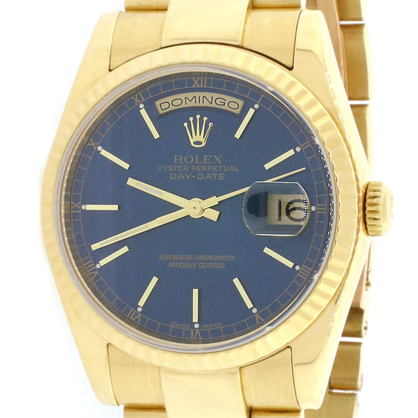 Rolex Day-Date Yellow Gold Blue Dial 36MM Automatic Mens Oyster Watch 118208