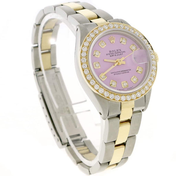 Rolex Datejust Ladies 2-Tone Gold/Steel 26MM Automatic Oyster Watch w/Lavender Diamond Dial & Bezel
