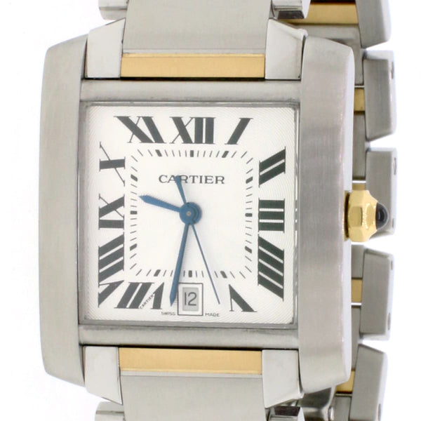 Cartier Tank Francaise Large 2-Tone 18K Yellow Gold & SS 28MM Silver Roman Dial Automatic Watch W51005Q4