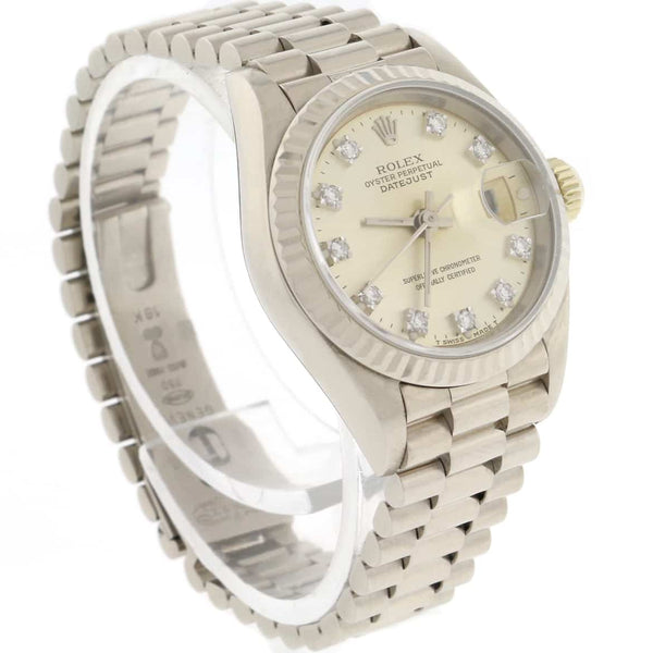Rolex President Datejust Ladies Original Silver Diamond Dial 18K White Gold 26MM Automatic Watch 69179