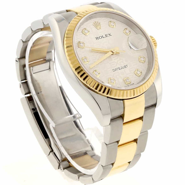 Rolex Datejust 2-Tone 18K Yellow Gold & Steel Silver Jubilee Diamond Dial 36MM Automatic Oyster Mens Watch 116233
