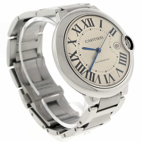 Cartier Ballon Bleu Large Stainless Steel 42MM Silver Roman Dial Automatic Mens Watch W69012Z4