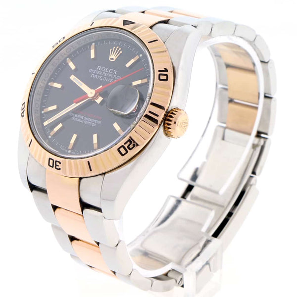 Rolex Datejust Thunderbird Turnograph 2-Tone 18K Rose Gold & Stainless Steel Original Black Dial 36MM Oyster Watch 116261