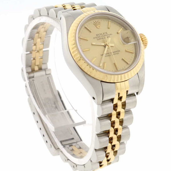 Rolex Datejust Ladies 2-Tone 18K Yellow Gold/Steel Original Champagne Stick Dial 26MM Jubilee Watch 69173
