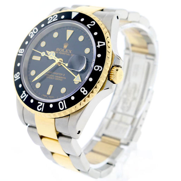 Rolex GMT-Master II 2-Tone Yellow Gold & Stainless Steel Black Bezel Automatic Mens Oyster Watch 16713