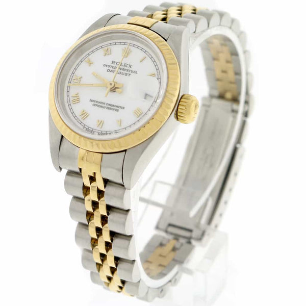 Rolex Datejust Ladies 2-Tone 18K Yellow Gold/Steel 26MM Original White Roman Dial Jubilee Watch 69173
