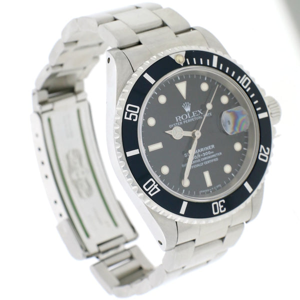 Rolex Submariner Date Black Dial 40MM Automatic Stainless Steel Oyster Mens Watch 16610