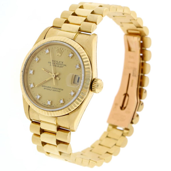 Rolex President Datejust Midsize 18K Yellow Gold Original Champagne Diamond Dial 31MM Automatic Watch 68278