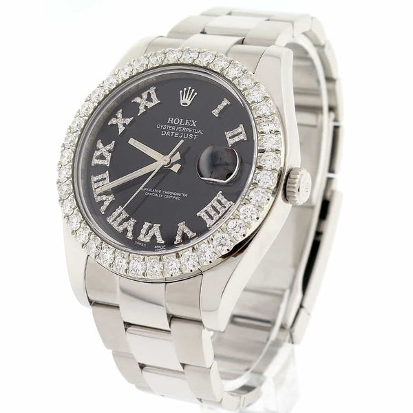 Rolex Datejust II 41MM Automatic Mens Oyster Watch 116300 w/Black Roman Diamond Dial & 4.0Ct Bezel