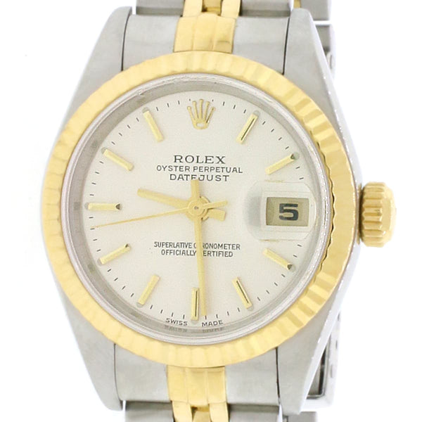 Rolex Datejust Ladies 2-Tone 18K Yellow Gold/Steel 26MM Factory Silver Index Dial Jubilee Watch No Holes Case