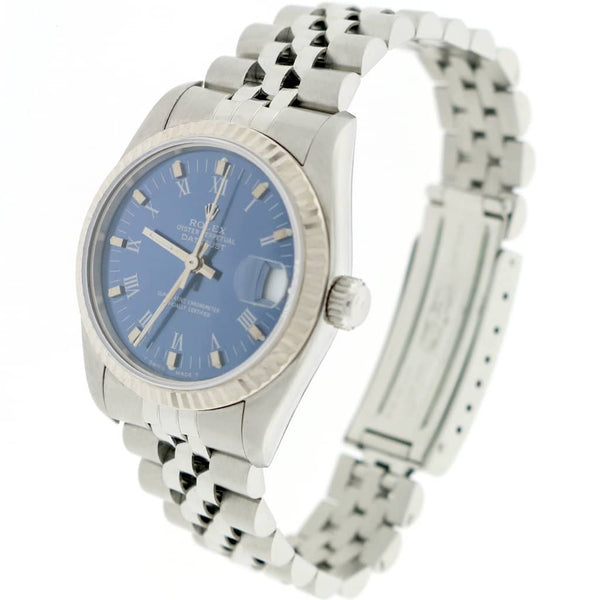 Rolex Datejust Midsize White Gold Fluted Bezel Blue Roman Dial 31mm Automatic Stainless Steel Jubilee Watch 68274