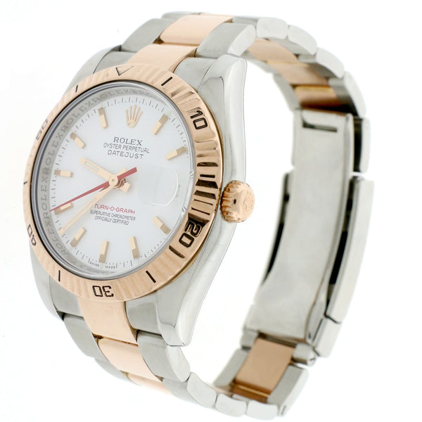 Rolex Datejust Thunderbird Turnograph 2-Tone 18K Rose Gold & Stainless Steel Original White Index Dial 36MM Oyster Watch 116261