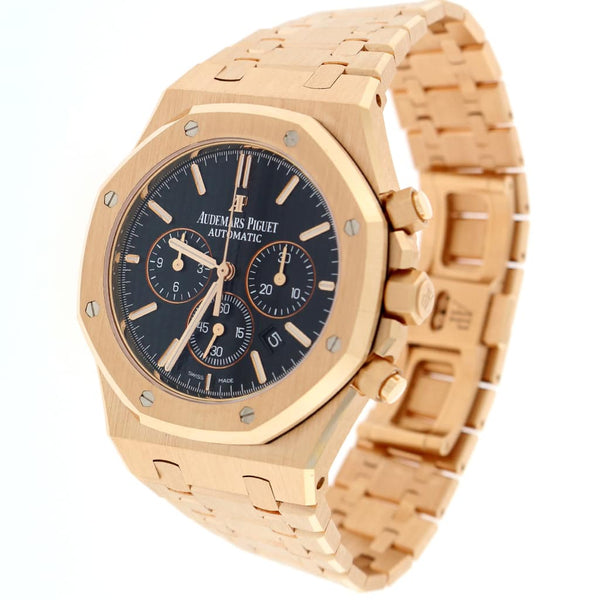 Audemars Piguet Royal Oak 18K Rose Gold 41MM Black Dial Chronograph Automatic Mens Watch 26320OR.OO.1220OR.01