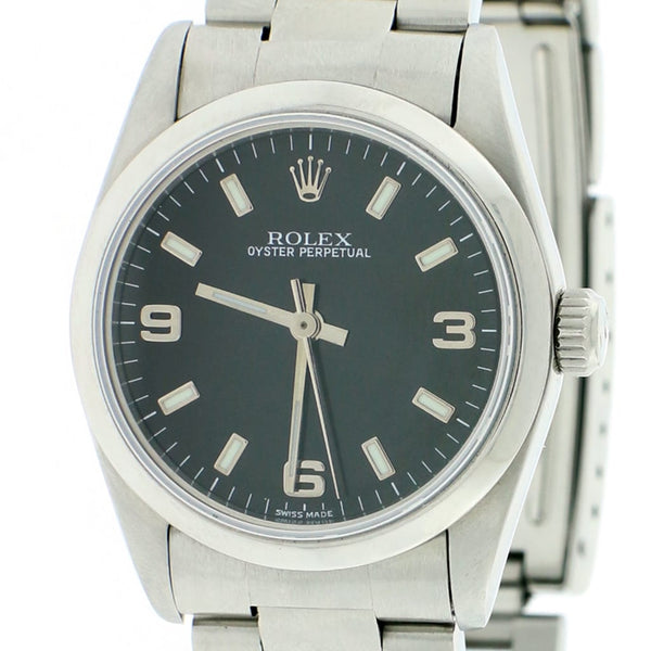 Rolex Oyster Perpetual Midsize Black Index Dial 31MM Automatic Stainless Steel Watch 67480