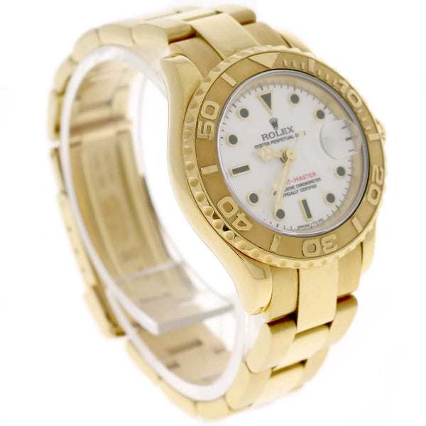 Rolex Yacht-Master Ladies 18K Yellow Gold Original White Dial 29MM Automatic Watch 69628