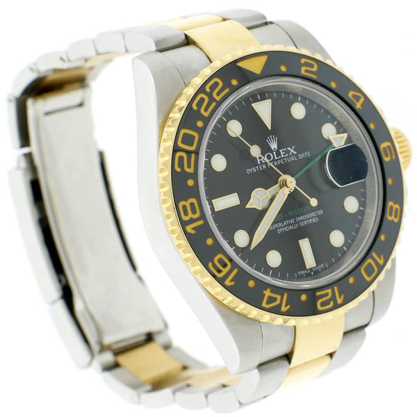 Rolex GMT-Master II 2-Tone Yellow Gold & Stainless Steel Black Ceramic Bezel Automatic Mens Oyster Watch 116713