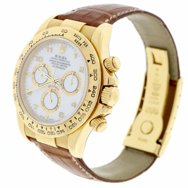 Rolex Cosmograph Daytona 18K Yellow Gold Original White Dial 40MM Automatic Mens Watch 116518