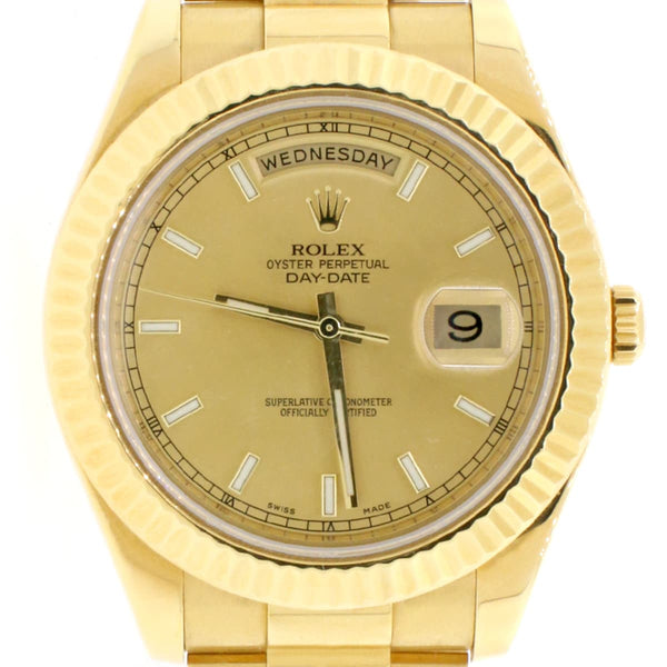 Rolex President Day-Date II 18K Yellow Gold 41mm Mens Automatic Watch 218238