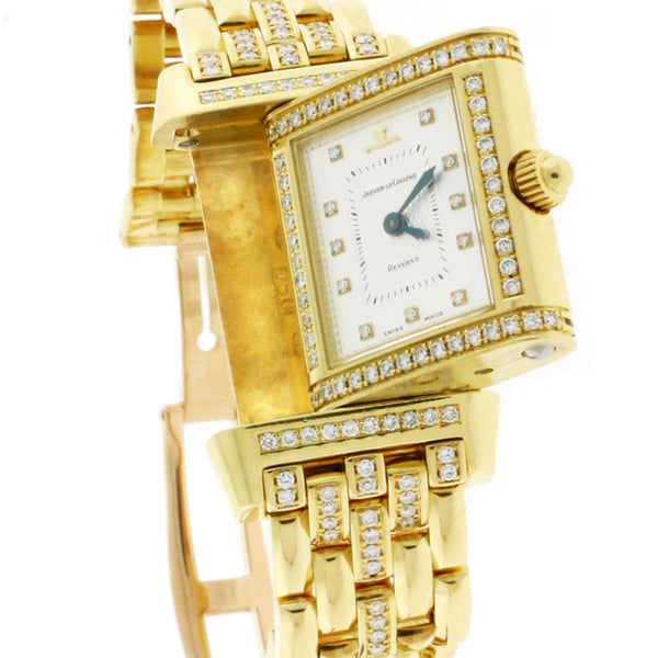 Jaeger-Le Coultre Reverso Duetto 18K Yellow Gold Factory Diamond MOP Dial 21MM Automatic Ladies Watch 266.1.44