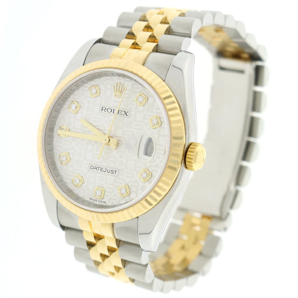 Rolex Datejust 2-Tone 18K Yellow Gold & Stainless Steel Factory Silver Jubilee Diamond Dial 36MM Automatic Mens Watch 116233