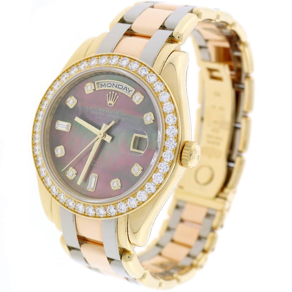 Rolex President Day-Date Special Edition Tridor Masterpiece 39MM Factory Tahitian MOP Diamond Dial & Bezel Watch 18948