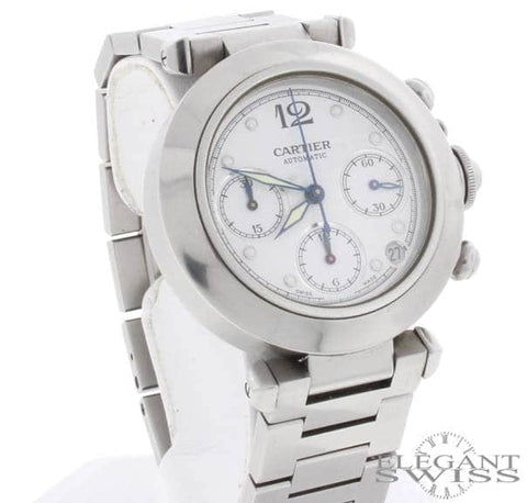 Cartier Pasha Chronograph Automatic Stainless Steel White Dial 36mm Watch 2412