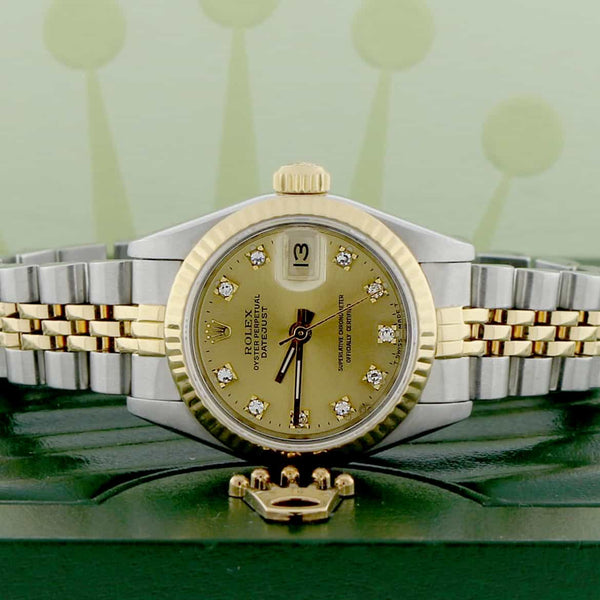 Rolex Datejust Ladies 2-Tone Gold/Steel Original Champagne Diamond Dial 26MM Automatic Watch