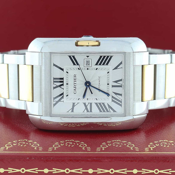 Cartier Tank Anglaise 2-Tone 18K Yellow Gold & Stainless Steel Automatic Watch W5310047