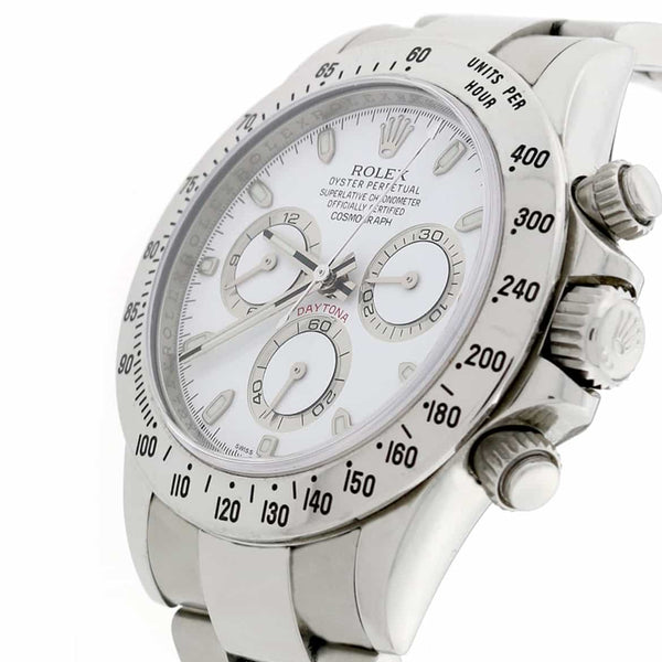 Rolex Cosmograph Daytona White Dial 40MM Automatic Stainless Steel Mens Watch 116520