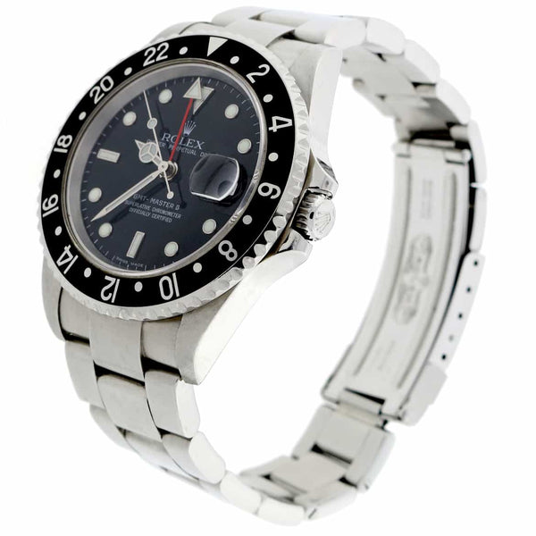 Rolex GMT-Master II Black Dial 40MM Automatic Stainless Steel Mens Watch 16710