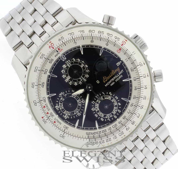 Breitling Montbrillant 1461 Jours Moon Phase Calendar Chronograph Automatic Stainless Steel Mens Watch A19030